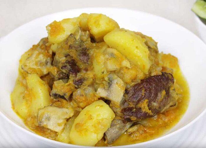 картошка с мясом и овощами, без капли масла