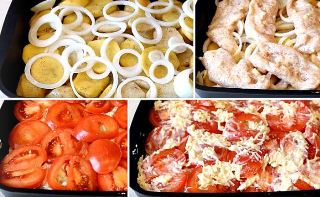 Запекаем на противне мясо и картошку слоями с помидорами