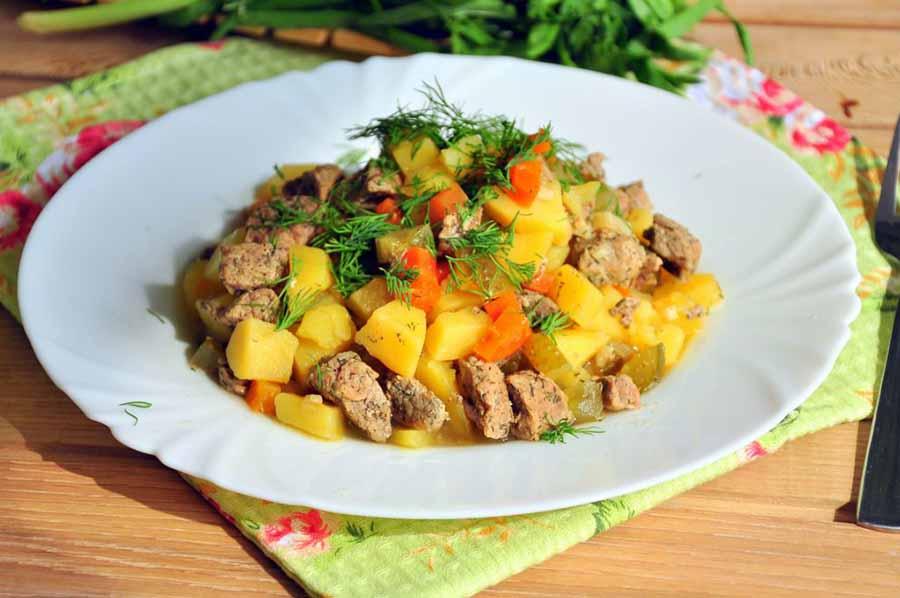 Картофель с мясом в мультиварке-скороварке
