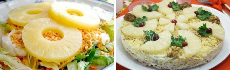 Салат с курицей и ананасом — классический простой рецепт с майонезом