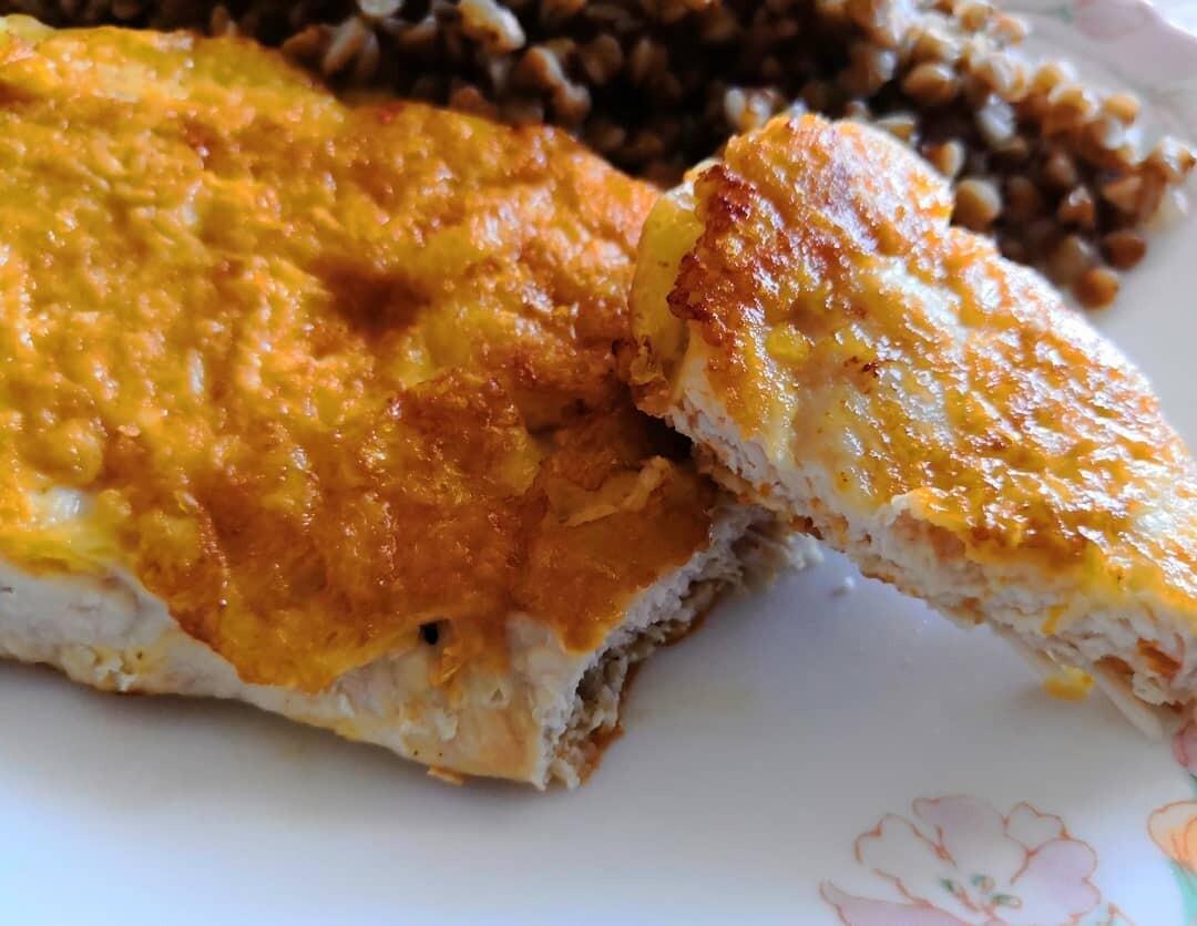 Сырный кляр для отбивных из свинины на сковороде