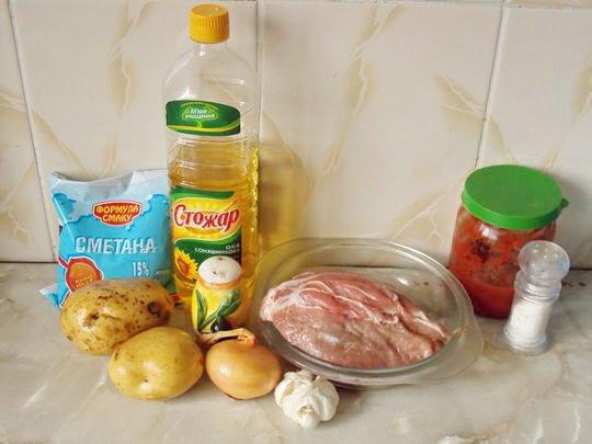 Продукты для приготовления мяса под картофельной шубой в духовке